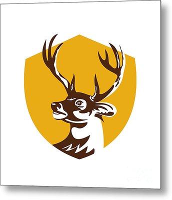 Whitetail Deer Buck Head Crest Retro Metal Print by Aloysius Patrimonio