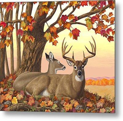 Whitetail Deer - Hilltop Retreat Horizontal Metal Print by Crista Forest