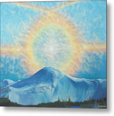 Who Makes The Clouds His Chariot Fire Rainbow Over Alberta Peak Metal Print by Anastasia Savage Ealy
