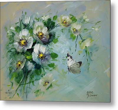 Whte Butterfly And Blossoms Metal Print by David Jansen