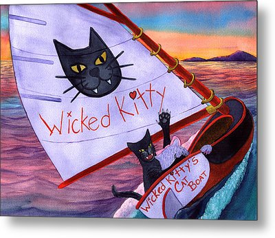 Wicked Kitty's Catboat Metal Print by Catherine G McElroy