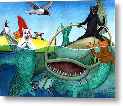 Wicked Kitty's Catfish Metal Print by Catherine G McElroy