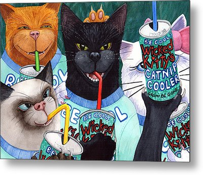 Wicked Kitty's Catnip Cooler Metal Print by Catherine G McElroy