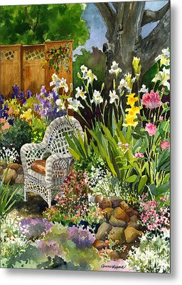 Metal Print featuring the painting Wicker Chair by Anne Gifford