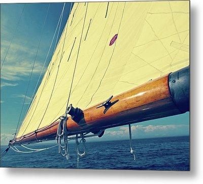 Large Sail Blue Horizon With Antique Yellow Tinting Metal Print