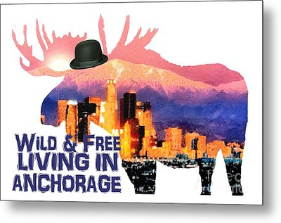 Metal Print featuring the digital art Wild And Free-in Anchorage by Elaine Ossipov