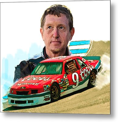 Metal Print featuring the painting Wild Bill  Bill Elliott  by Iconic Images Art Gallery David Pucciarelli