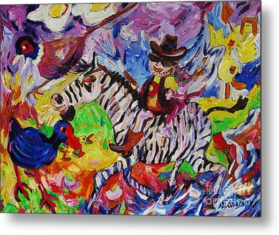 Wild Boy Jimmy On Zeebra Down River Metal Print