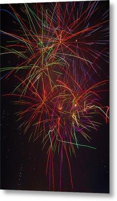 Wild Colorful Fireworks Metal Print