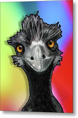 Wild-eyed Emu On Multi-colored Background Metal Print by Joyce Geleynse