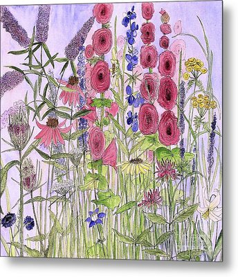 Metal Print featuring the painting Wild Garden Flowers by Laurie Rohner