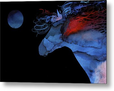 Wild Horse Under A Full Moon Abstract Metal Print