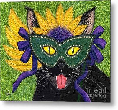 Metal Print featuring the painting Wild Mardi Gras Cat by Carrie Hawks