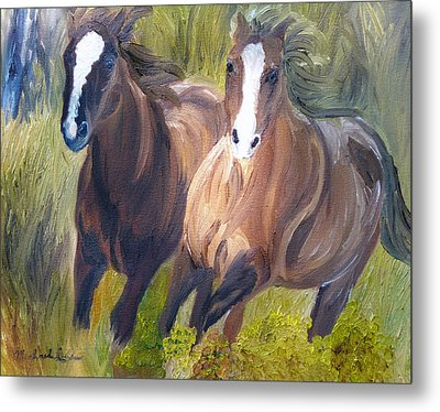 Wild Mustangs Metal Print by Michael Lee