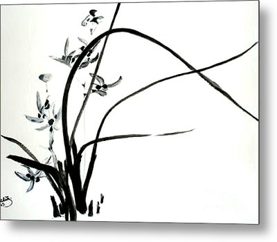Metal Print featuring the painting Wild Orchid by Sibby S