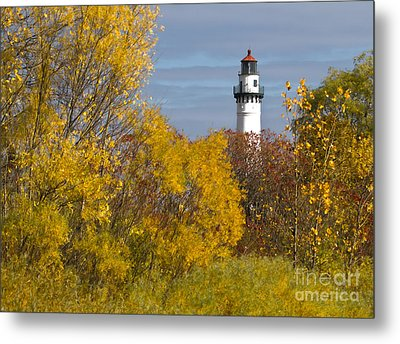 Wind Point Lighthouse In Fall Metal Print by Ricky L Jones