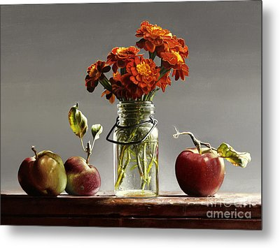 Wild Red Apples With Marigolds Metal Print