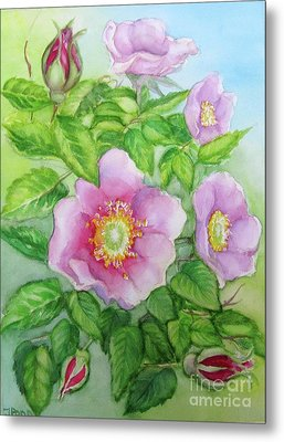 Metal Print featuring the painting Wild Rose 3 by Inese Poga