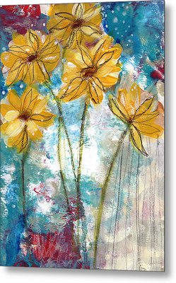 Wild Sunflowers- Art By Linda Woods Metal Print by Linda Woods