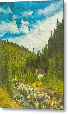 Metal Print featuring the digital art Wilderness Cabin by Dale Stillman