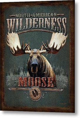 Wilderness Moose Metal Print by JQ Licensing