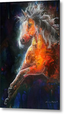 Metal Print featuring the painting Wildfire Fire Horse by Sherry Shipley