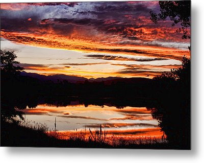 Wildfire Sunset Reflection Image 28 Metal Print