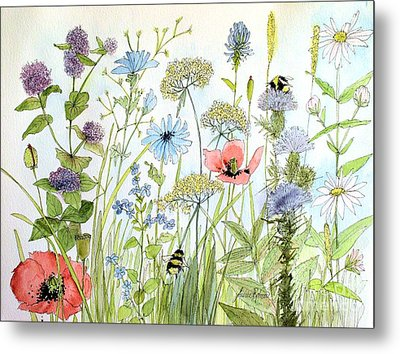 Metal Print featuring the painting Wildflower And Bees by Laurie Rohner