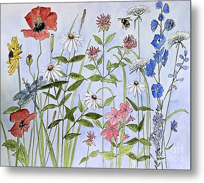 Metal Print featuring the painting Wildflower And Blue Sky by Laurie Rohner