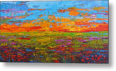Wildflower Field At Sunset - Modern Impressionist Oil Palette Knife Painting Metal Print