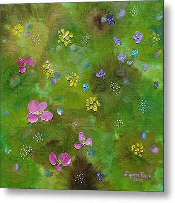 Metal Print featuring the painting Wildflower Support by Judith Rhue