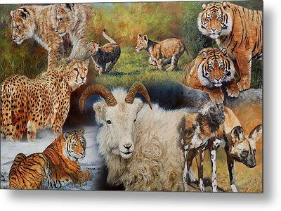 Wildlife Collage Metal Print