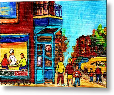 Wilensky's Lunch Counter With School Bus Montreal Street Scene Metal Print by Carole Spandau