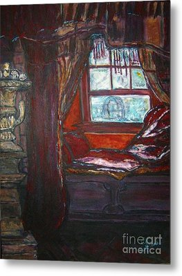 Metal Print featuring the painting Wilhelmina's Windowseat by Helena Bebirian