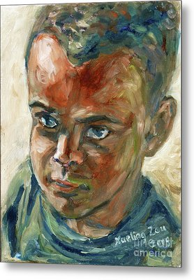 Metal Print featuring the painting Willful Boy by Xueling Zou