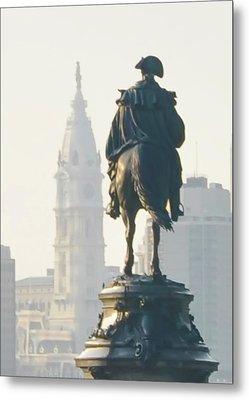 William Penn And George Washington - Philadelphia Metal Print by Bill Cannon