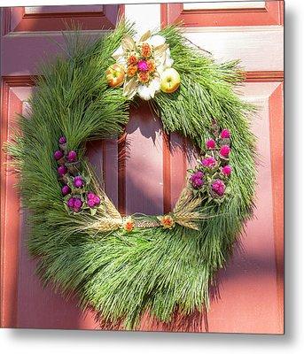 Williamsburg Wreath 50 Metal Print