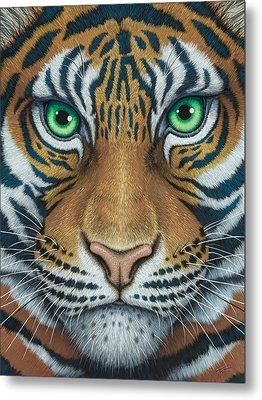 Wils Eyes Tiger Face Metal Print by Tish Wynne