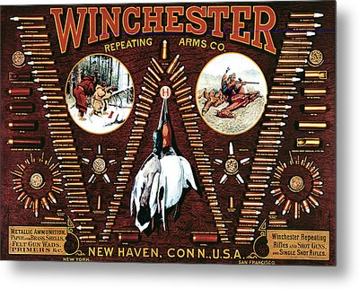 Winchester W Cartridge Board Metal Print by Unknown