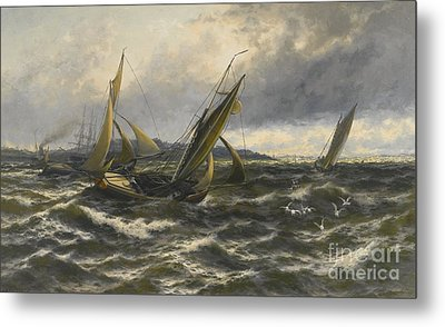 Wind And Sea Rising Off The Isle Of Sheppey Metal Print
