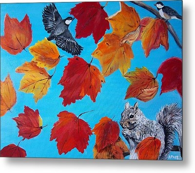 Wind And The Autumn Sky Metal Print by Aleta Parks