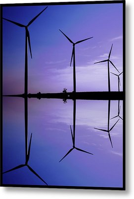Wind Energy Turbines At Dusk Metal Print