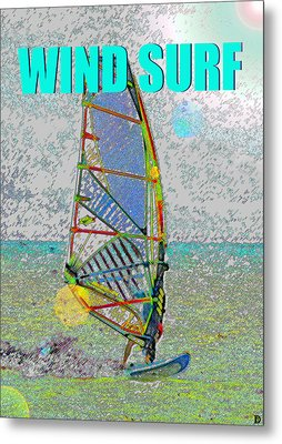 Wind Surf Smart Phone Blue Text Metal Print by David Lee Thompson