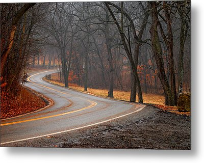 Winding Misty Road Metal Print
