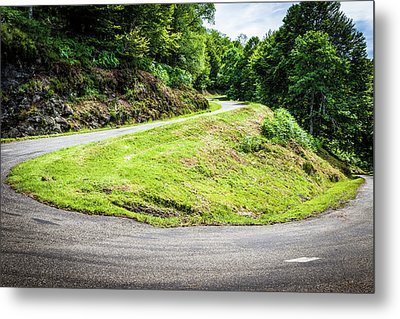 Winding Road With Sharp Bend Going Up The Mountain Metal Print by Semmick Photo