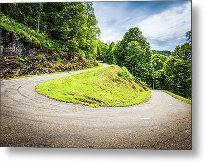 Winding Road With Sharp Curve Going Up The Mountain Metal Print by Semmick Photo