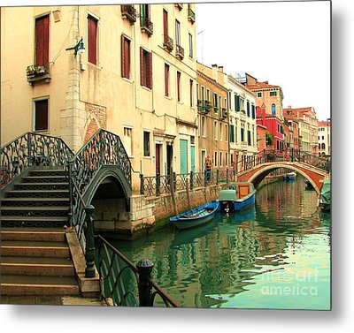 Winding Through The Watery Streets Of Venice Metal Print by Barbie Corbett-Newmin