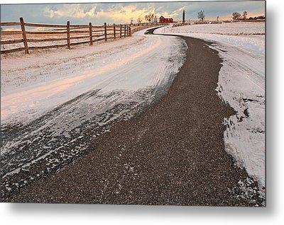 Winding Winter Road Metal Print