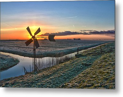 Windmill At Sunrise Metal Print