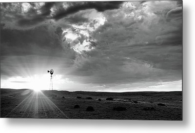 Windmill At Sunset Metal Print